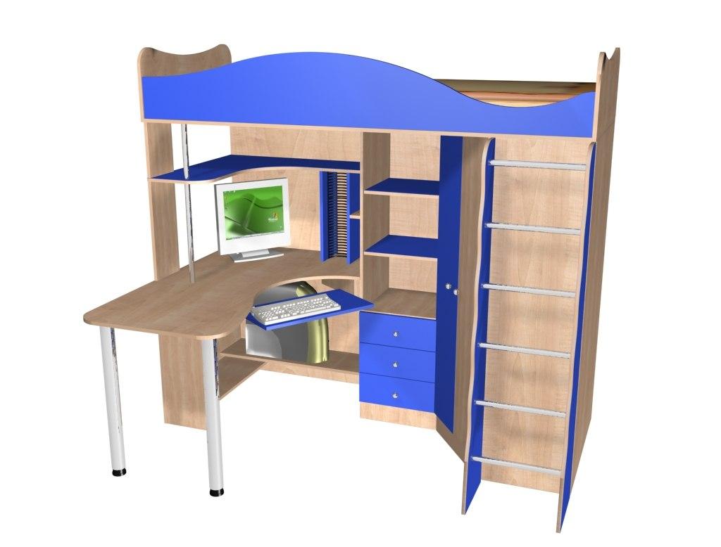 кровать-чердак с рабочим столом