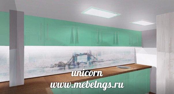 """проект большого кухонного гарнитура для офиса """"мятная свежесть"""""""