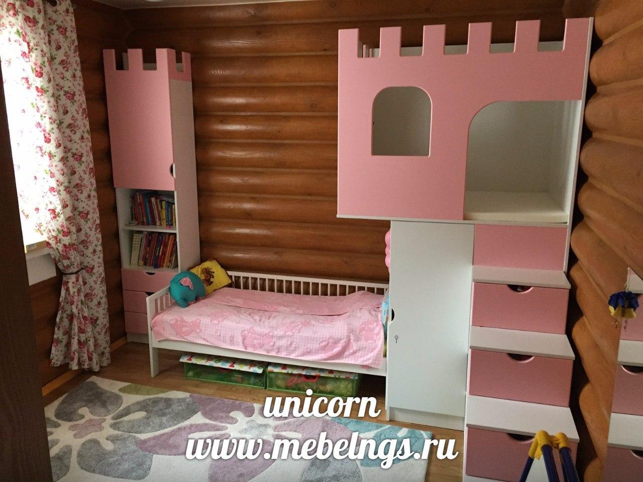 кровать для девочки, стеллаж, игровая зона Замок