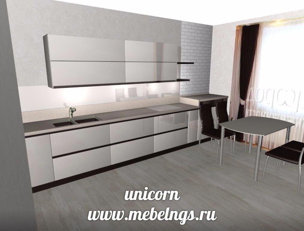 проект кухонного гарнитура с фасадами акрилайн
