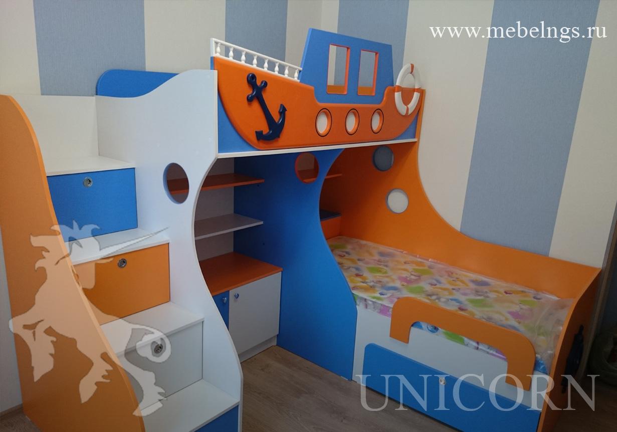 детская кровать корабль двухъярусная