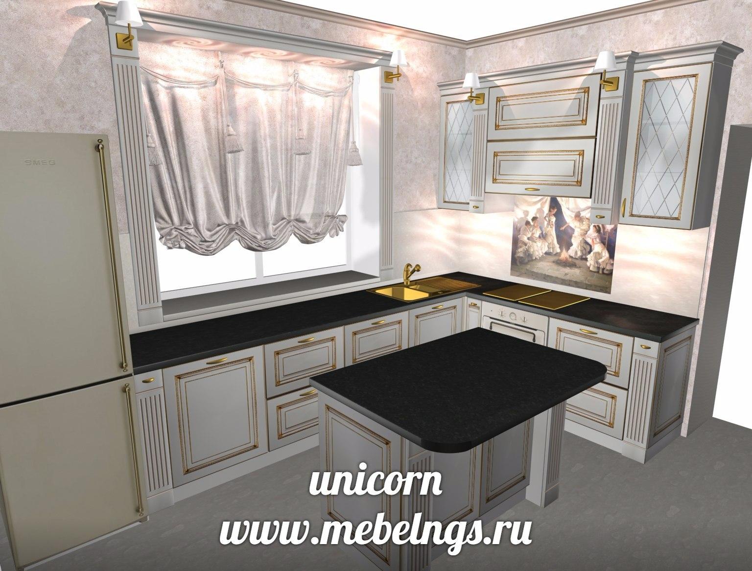 проект кухонного гарнитура в классическом дворцовом стиле