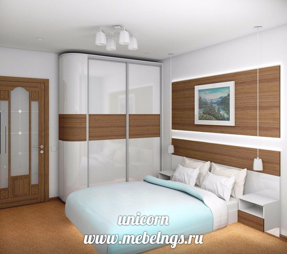 спальный гарнитур с закругленным шкафом