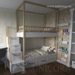 проект детской комнаты с двухъярусной кроватью