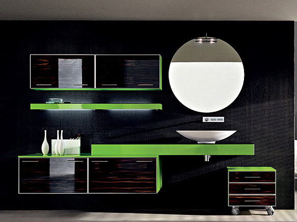 современный яркий набор мебели для ванной комнаты