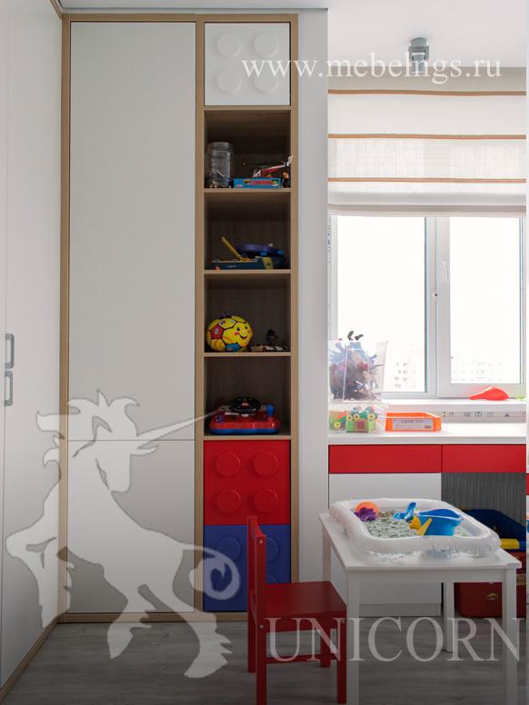 стеллаж для книг и игрушек лего